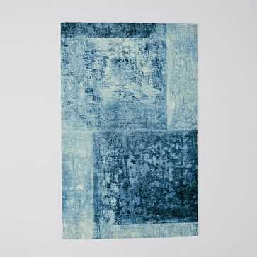 Distressed Rococo Wool Rug, 6'x9', Blue Lagoon - West Elm