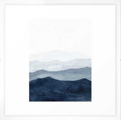 "Indigo Abstract Watercolor Mountains Framed Art Print - Large (gallery) - 22"" x 22"" - Vector White frame - Society6"