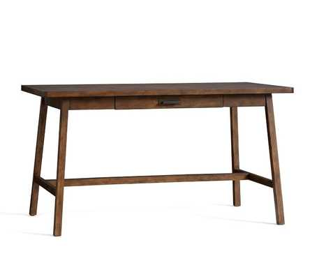 """Mateo 56"""" Rustic Desk with Drawer, Salvaged Black - Pottery Barn"""
