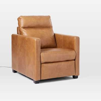 Harris Leather Power Recliner / Saddle Leather, Nut-Individual - West Elm