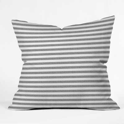 "Little Arrow Design Co Stripes in Grey Outdoor Throw Pillow - 20"" x 20"" - Wander Print Co."