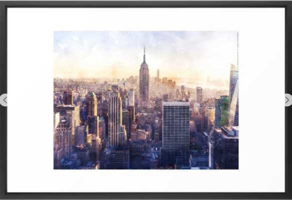 New York City Watercolor Skyline Framed Art Print - Society6