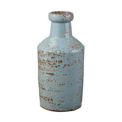 4 in. x 8 in. Rustic Jungle Earthenware Decorative Milk Bottle, Gray/Blue - Home Depot