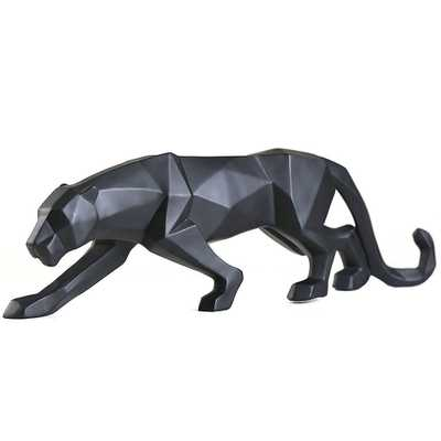 Gongguan Abstract Leopard Statues Hand Craved Animal Resin Sculpture Modern Home Decoration Black - Amazon