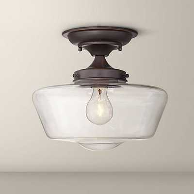 "Schoolhouse Floating 12"" Wide Bronze Clear Glass Ceiling Light - Lamps Plus"