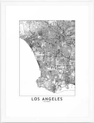 Los Angeles White Map Framed Art Print by multipliCITY - Society6