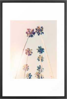 Vintage Pastel Palm trees -Vector Black Framed Art Print - Society6