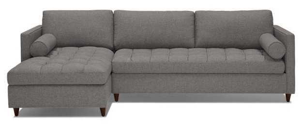 Gray Briar Mid Century Modern Sleeper Sectional - Taylor Felt Grey - Mocha - Left - Joybird