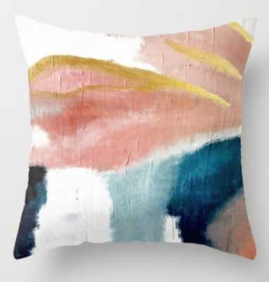 "Exhale: A Pretty, Minimal, Acrylic Piece In Pinks Throw Pillow - 18"" x 18"" with Insert - Society6"