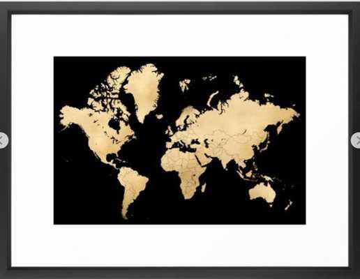 Sleek black and gold world map Framed Art Print 20 x 26 - Society6