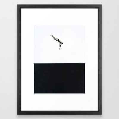 "Dive Art Print - 20"" x 26"" - Vector Black Frame - With mat - Society6"