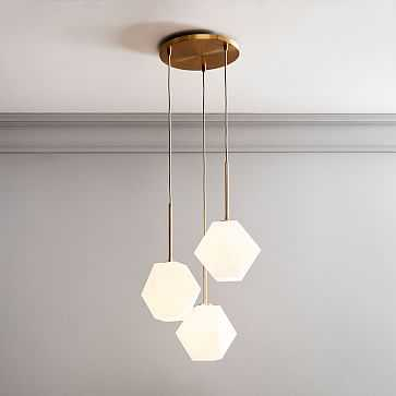 Sculptural Glass 3Lt Round Chandelier Small Faceted Milk Shade Brass Canopy V2 - West Elm