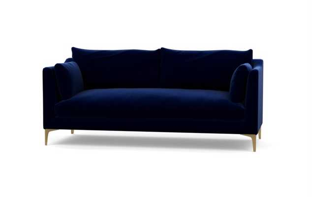 Caitlin by The Everygirl Sofa in Oxford Blue Fabric with Brass Plated legs - Interior Define