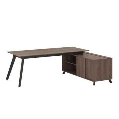 AX1 L-Shape Medium Brown Desk and Storage Cabinet Bundle, Medium Brown Finish - Home Depot