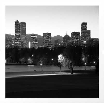 Denver Skyline Square Format - Black and White Art Print 8 x 8 - Society6