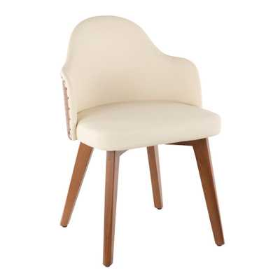Ahoy Walnut and Cream Faux Leather Chair with Nailhead Trim - Home Depot