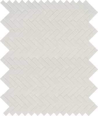 Domino Herringbone Mesh Mounted Porcelain MosaicTile in White - Wayfair