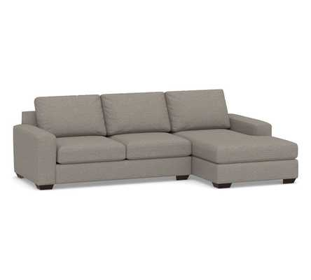 Big Sur Square Arm Upholstered Left Arm Sofa with Chaise Sectional and Bench Cushion, Down Blend Wrapped Cushions, Performance Chateau Basketweave Light Gray - Pottery Barn