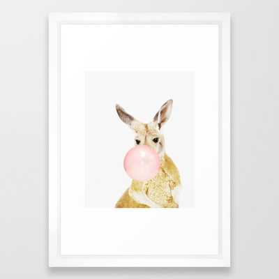 "Kangaroo, Bubble gum, Pink, Animal, Nursery, Minimal, Trendy decor, Interior, Wall art Framed Art Print - 15"" x 21"" - Vector White - Society6"