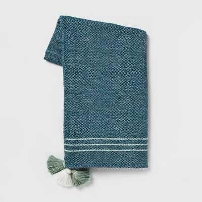 """60""""x50"""" Tassels Throw Blanket Teal - Opalhouse™ - Target"""