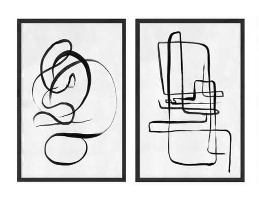 Scribble I & II Abstract Framed Canvas Wall Art Set Of 2 - World Market/Cost Plus