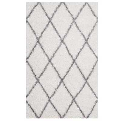 TORYN DIAMOND LATTICE 8X10 SHAG AREA RUG IN IVORY AND GRAY - Modway Furniture