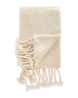 CABLE-KNIT THROW, ANTIQUE WHITE - McGee & Co.