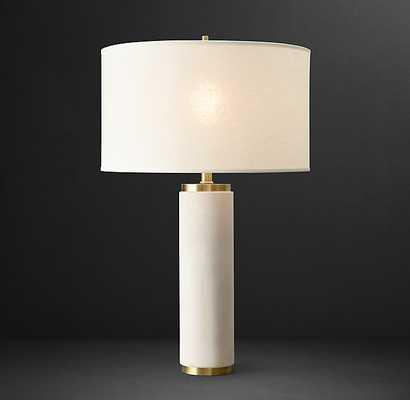 CYLINDRICAL COLUMN LIMESTONE TABLE LAMP - RH