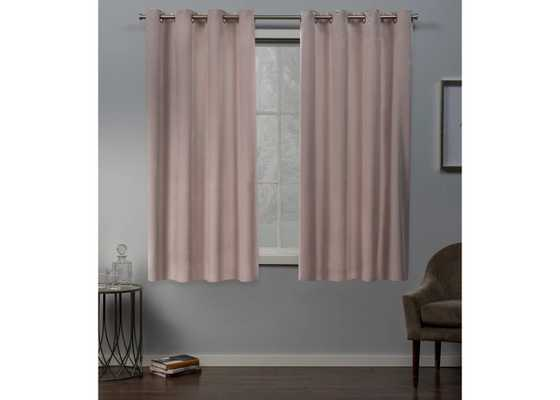 "Exclusive Home Velvet Heavyweight Grommet Top Window Curtain Panel Pair - Blush Pink - 63""L - Target"