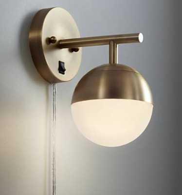 Luna Antique Brass Globe Pin-Up Wall Lamp - Lamps Plus
