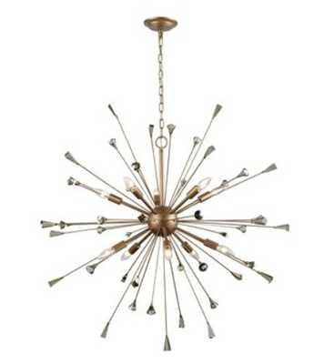 SPRIGNY 10 LIGHT CHANDELIER IN MATTE GOLD WITH AMBER TEAK CRYSTAL - ELKLIGHTING