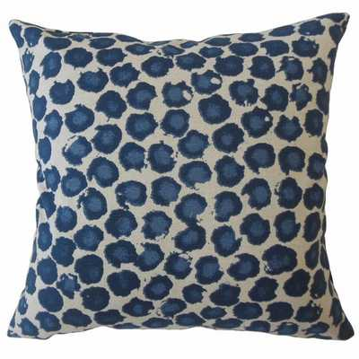 "Eilert Ikat Pillow Blue - 18"" x 18"" with poly Insert - Linen & Seam"