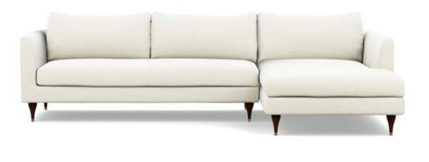 OWENS Sectional Sofa with Right Chaise, bench cushion, oiled walnut stiletto leg - Interior Define