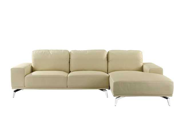 Gayden Leather Sectional - Right Hand Facing - Beige - Wayfair
