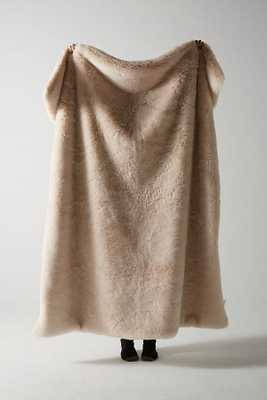 Fireside Faux Fur Throw Blanket- blush - Anthropologie