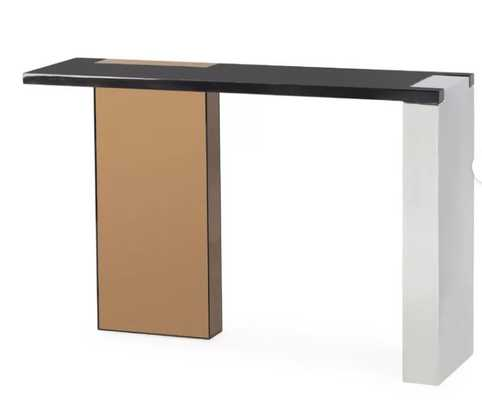 Kelly Hoppen Reed Modern Black Maple Rose Gold Finger Joint Console Table - Perigold