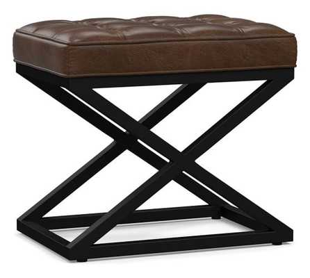 Kirkham Tufted Leather Stool, Vintage Cocoa - Pottery Barn