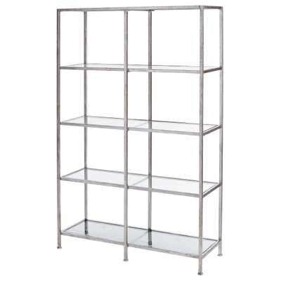 Bella Aged 40 in. Wide Silver Glass Bookcase, Aged Silver - Home Depot
