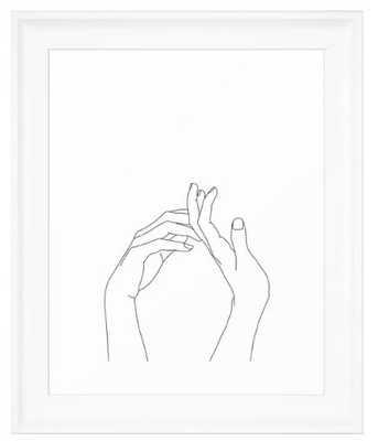 Hands line drawing illustration - Abi Framed Art Print - 10x12 - Society6