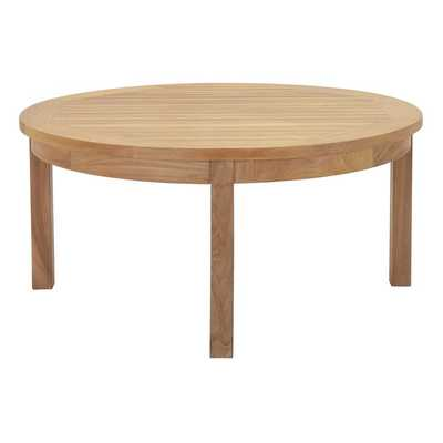 MARINA OUTDOOR PATIO TEAK ROUND COFFEE TABLE IN NATURAL - Modway Furniture