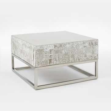 Concrete + Chrome Coffee Table - West Elm
