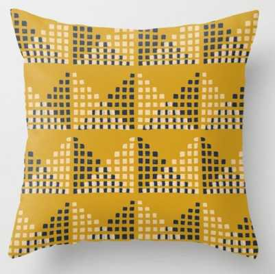 Layered Geometric Block Print in Mustard Throw Pillow, Outdoor, polyester insert - 18x18 - Society6