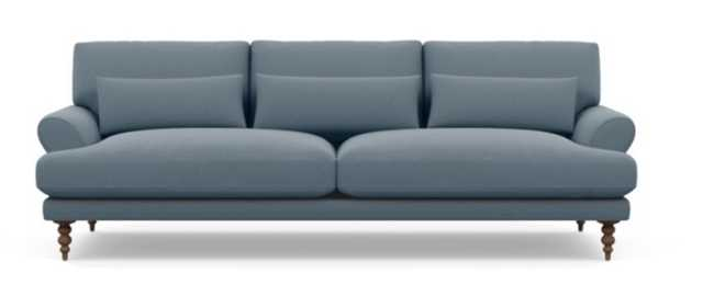 Maxwell Sofa in Slate Fabric with Oiled Walnut with Oiled Walnut Tapered Turned Legs - Interior Define