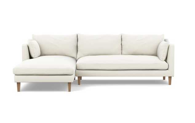 "Caitlin by The Everygirl Chaise Sectional- Left Chaise - Natural Oak Tapered Square Wood- 98"" - Interior Define"