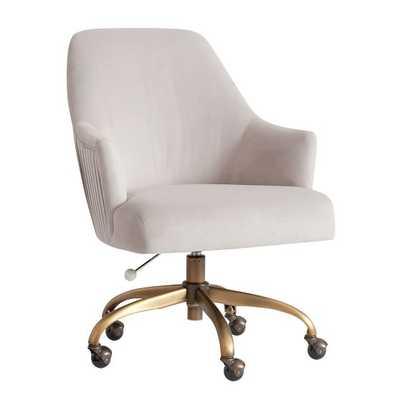 Performance Everyday Velvet Gray Pleated Swivel Desk Chair - Pottery Barn Teen