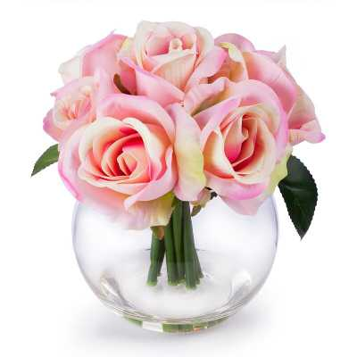 Pink Velet Rose Flower Arrangement In Clear Glass Vase With Faux Water - Wayfair