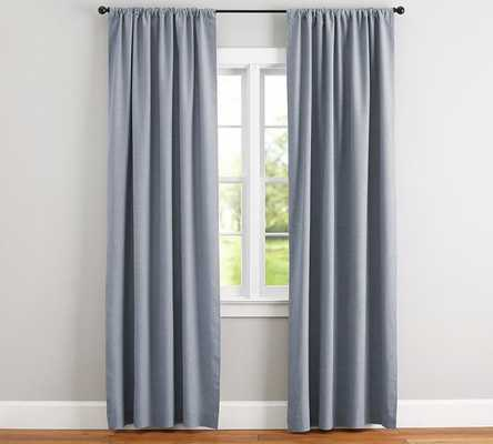 "Emery Linen Poletop Drape, 50 x 108"", Blue Dawn, Cotton Lining - Pottery Barn"