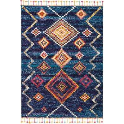 Wayne Moroccan Tribal Blue/Beige Area Rug - Wayfair