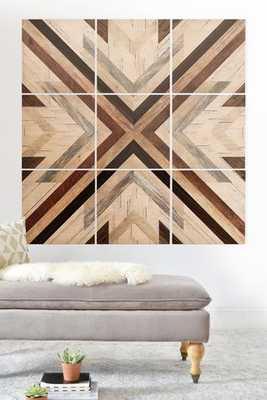 "GEO WOOD 1 Wall Mural 3'x3'; 9 - 12"" squares - Wander Print Co."