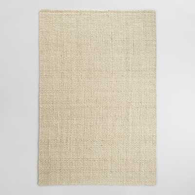Bleached Ivory Basket Weave Jute Rug: White/Natural - 6x9'' - World Market/Cost Plus
